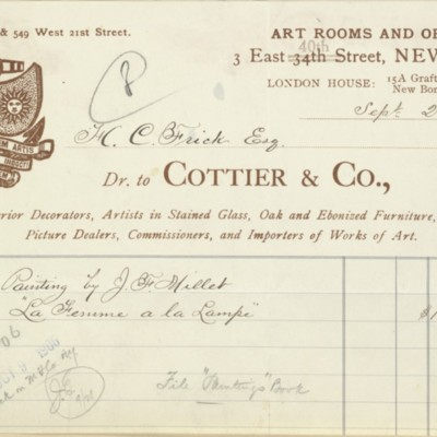 Invoice from Cottier & Co., 25 September 1906