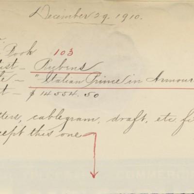 Memorandum prepared by Henry Clay Frick's secretary, 29 December 1910