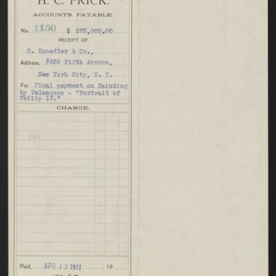 """Voucher from H.C. Frick to M. Knoedler & Co. for final payment on  Velazquez's """"Portrait of Philip IV,"""" 13 April 1911 [front]"""