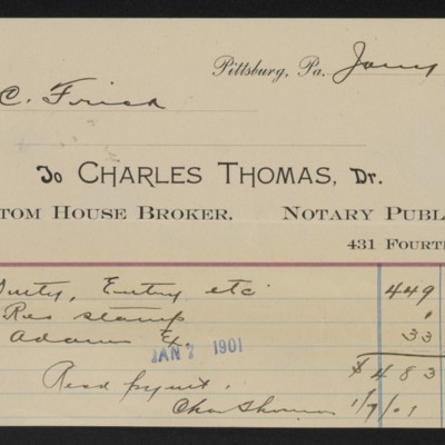 Receipt from Charles Thomas to Henry Clay Frick, 7 January 1901