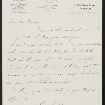 Letter from Charles S. Carstairs to Henry Clay Frick, 23 March 1909