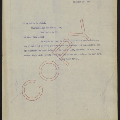Letter fro [A. Braddel] to Edith R. Abbot, 19 October 1917