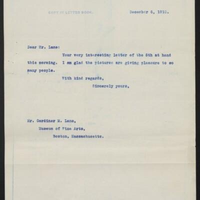 Letter from [H.C. Frick] to Gardiner M. Lane, 6 December 1910