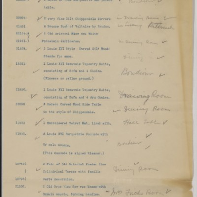 List of Duveen Brothers Items at Prides Crossing, 20 October 1906
