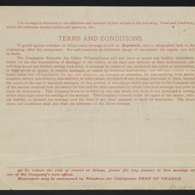 Cable from [Charles S. Carstairs] to [Henry Clay Frick], 19 October 1906 [back]