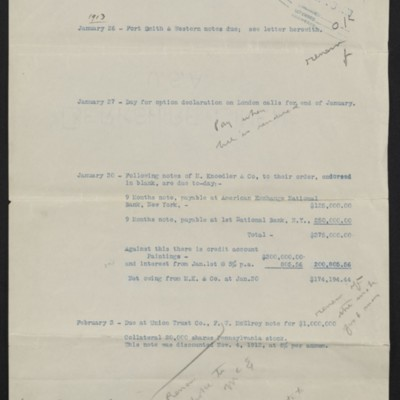 Matters for attention by Henry Clay Frick, circa 18 January 1913