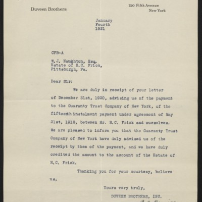 Letter from Duveen Brothers to W.J. Naughton, 4 January 1921