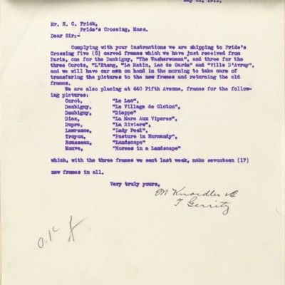 Letter from T. Gerrity of M. Knoedler & Co. to Henry Clay Frick, 31 May 1911