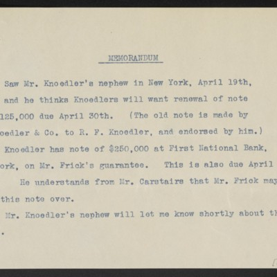 Memorandum by [F.W. McElroy?], circa 19 April 1912