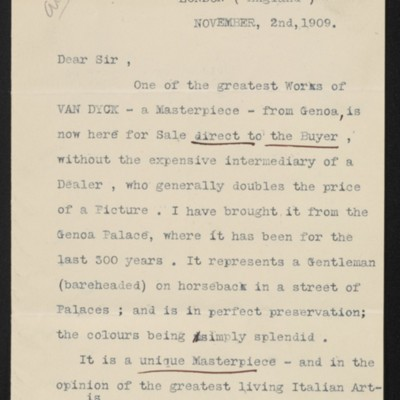 Letter from [Luigi] Ricci to [Henry Clay Frick], 2 November 1909
