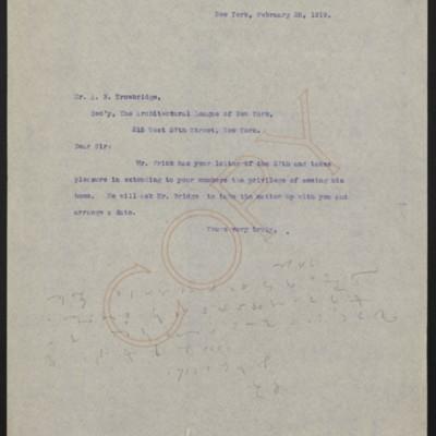 Letter from [Alice Braddel] to Alex B. Trowbridge, 28 February 1919