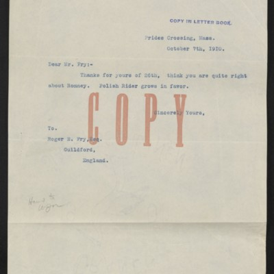 Letter from [Henry Clay Frick] to Roger E. Fry, 7 October 1910