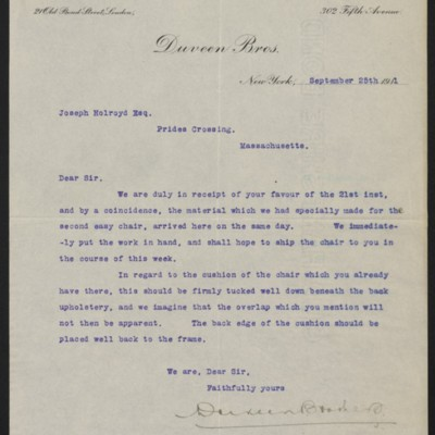 Letter from Duveen Brothers to Joseph Holroyd, 25 September 1911