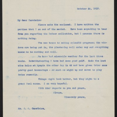 Letter from Henry Clay Frick to Charles S. Carstairs, 28 October 1913