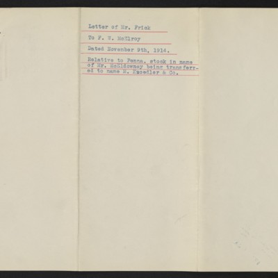 Letter from H.C. Frick to F.W. McElroy, 9 December 1914 [back]