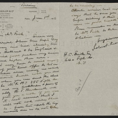 Letter from Roland F. Knoedler to Henry Clay Frick, 1 June 1906