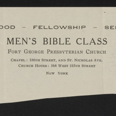 Fragment of stationery of Men's Bible Class, Fort George Presbyterian Church, circa March 1918