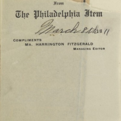 "Clipping, ""Frick and 'The Mill'"" from ""The Philadelphia Item,"" 8 March 1911"