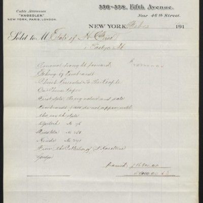 Invoice from M. Knoedler & Co. to the Estate of H.C. Frick, 13 February 1920 [page 2 of 2]