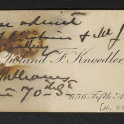 Calling card of Roland Knoedler, [1917]