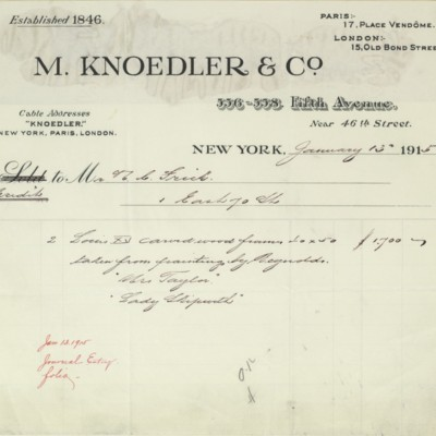 M. Knoedler & Co. Credit Statement, 15 January 1915