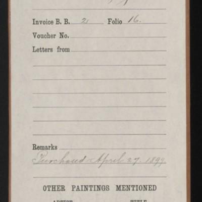 """Red envelope for the purchase of Hoppner's """"Miss Byng,"""" 1898"""