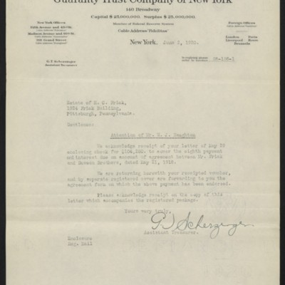 Letter from G.T. Scherzinger to Estate of Henry Clay Frick, 2 June 1920