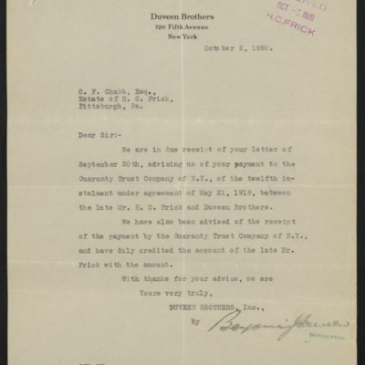 Letter from Benjamin Duveen to C.F. Chubb, 2 October 1920