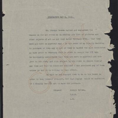 Memorandum of understanding between Joseph Duveen and H.C. Frick, 9 May 1919
