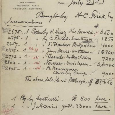 Memorandum from M. Knoedler & Co., 25 July 1901