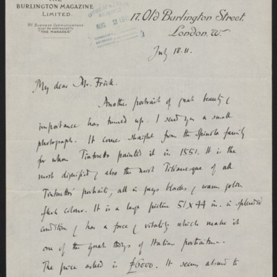 Letter from Roger E. Fry to Henry Clay Frick, 18 July 1911