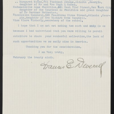 Letter from Frances E. Deverell to H.C. Frick, 29 February 1916 [page 2 of 2]
