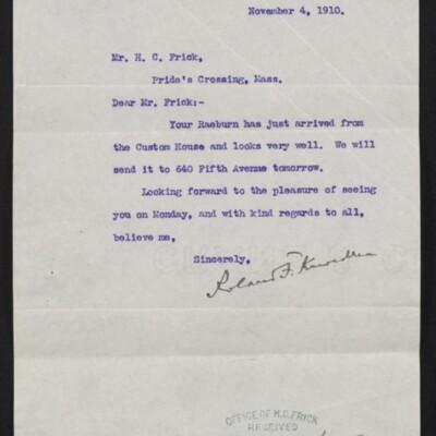Letter from Roland F. Knoedler to H.C. Frick, 4 November 1910