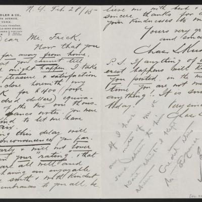 Letter from Charles L. Knoedler to Henry Clay Frick, 28 Feburary 1905