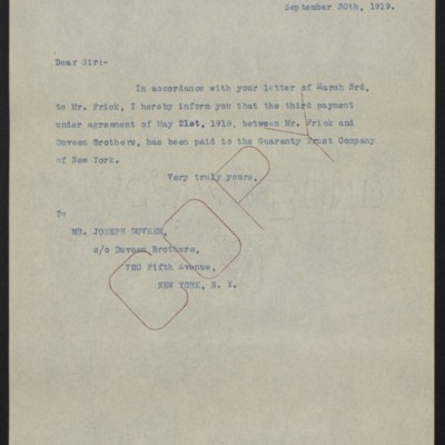 Letter from [W.J. Naughton] to Joseph Duveen, 30 September 1919