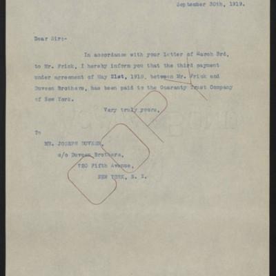 Letter from [W.J. Naughton] to Joseph Duveen, 30 September 1919