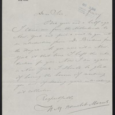 Letter from H.M. Bernelot Moens to [H.C. Frick], circa 1 December 1915