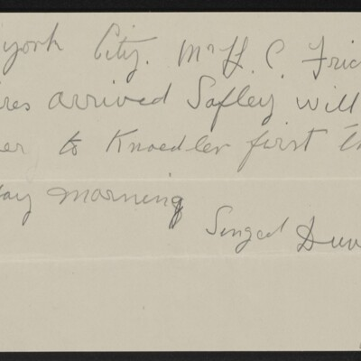 Note from Duveen Brothers to H.C. Frick, circa June 1919
