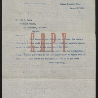 Letter from [H.C. Frick] to John R. Eyre, 2 August 1915