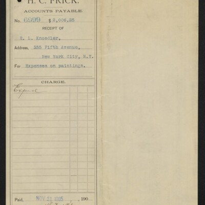 Voucher from H.C. Frick to E.L. Knoedler for expenses on paintings, 21 November 1905 [front]