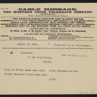 Cable from [Henry Clay] Frick to [Charles S. Carstairs], 29 August 1906 [front]
