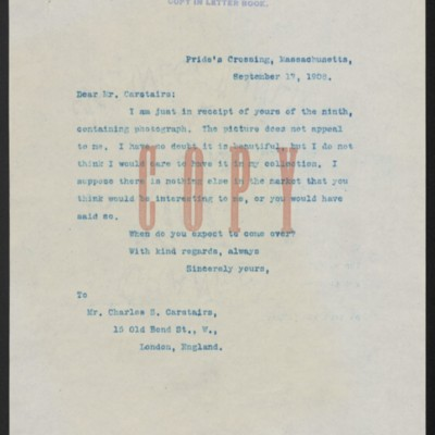Letter from Henry Clay Frick to Charles S. Carstairs, 17 September 1908