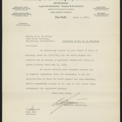 Letter fromE.S. Prenticeto the Estate of Henry Clay Frick, 2 April 1920