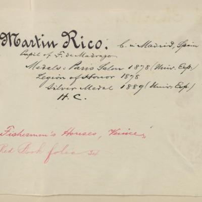 Rico biography prepared by M. Knoedler & Co., circa 1895