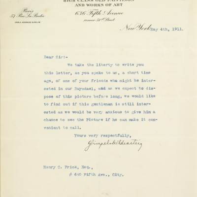 Letter from E. Gimpel & Wildenstein to Henry Clay Frick, 4 May 1911