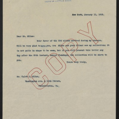 Letter from [H.C. Frick] to Caleb J. Milne Jr., 11 January 1915
