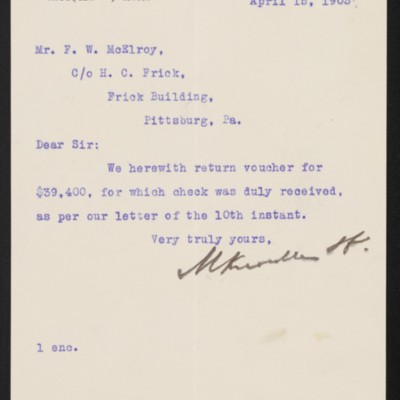 Letter from M. Knoedler & Co. to F.W. McElroy, 15 April 1903