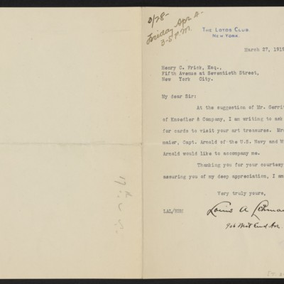 Letter from Louis A. Lehmaier to Henry C. Frick, 27 March 1919