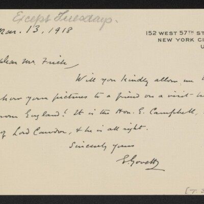 Letter from E. Govett to [H.C.] Frick, 13 March 1918