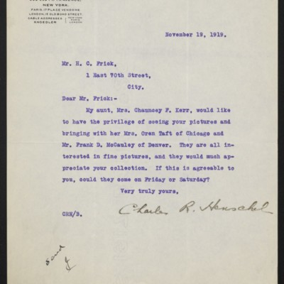 Letter from Charles R. Henschel to H.C. Frick, 19 November 1919
